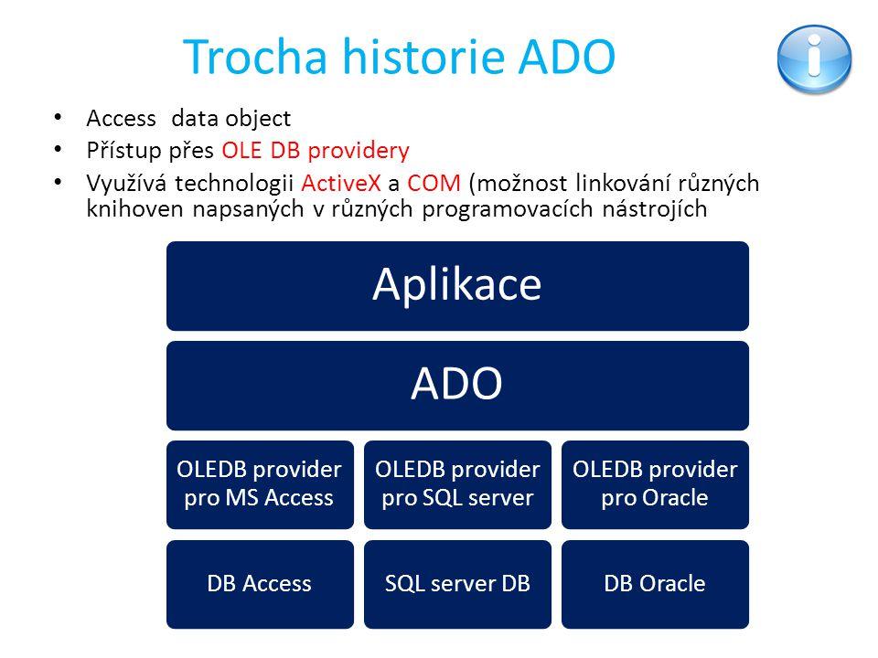 Trocha historie ADO Aplikace ADO Access data object