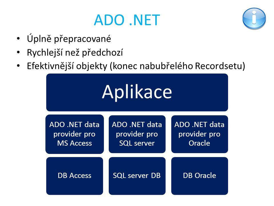 Aplikace ADO .NET Úplně přepracované Rychlejší než předchozí