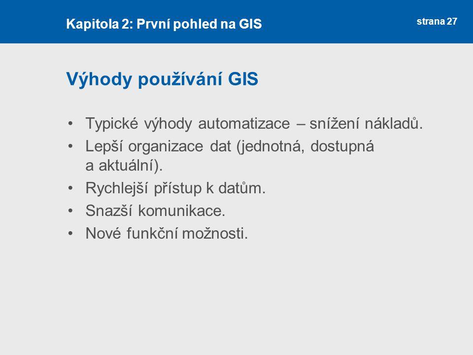 Výhody používání GIS Typické výhody automatizace – snížení nákladů.