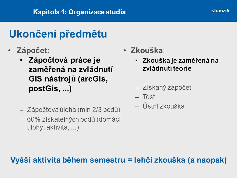 Ukončení předmětu Zápočet: