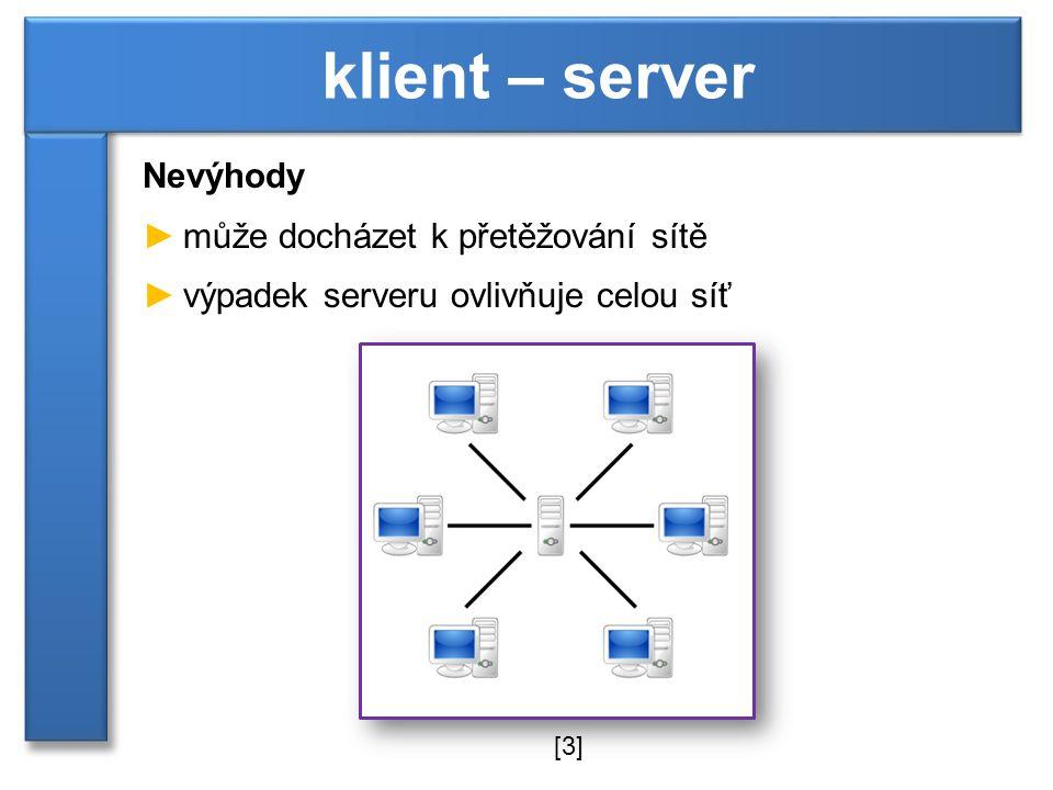 klient – server Nevýhody může docházet k přetěžování sítě