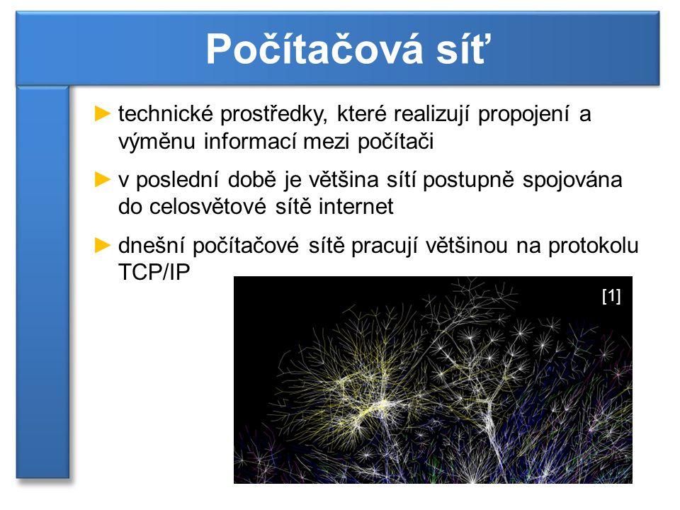 Počítačová síť technické prostředky, které realizují propojení a výměnu informací mezi počítači.