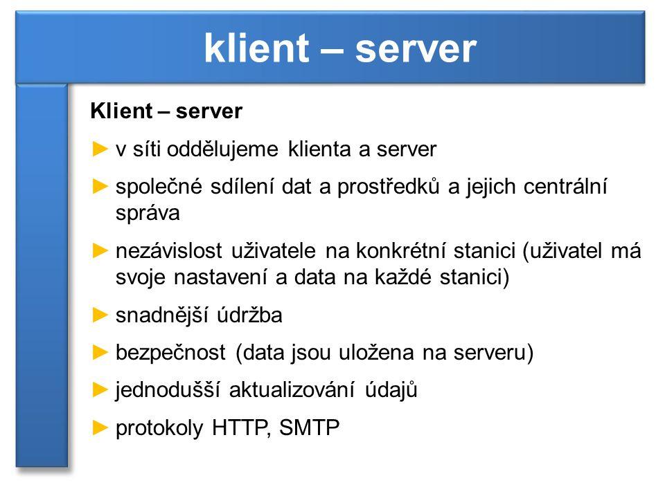klient – server Klient – server v síti oddělujeme klienta a server
