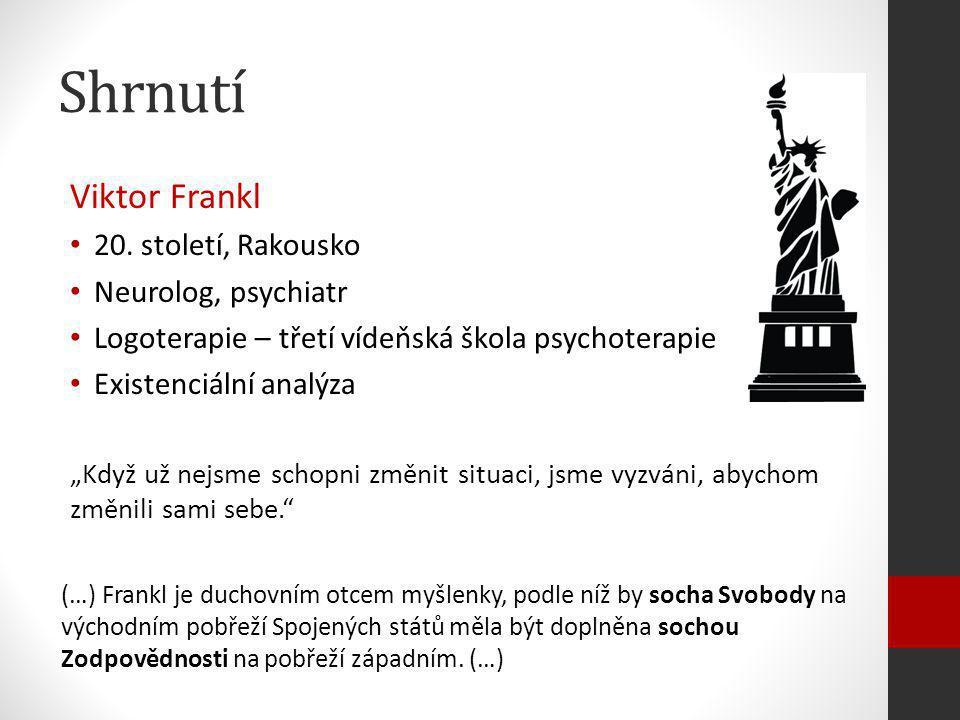 Shrnutí Viktor Frankl 20. století, Rakousko Neurolog, psychiatr