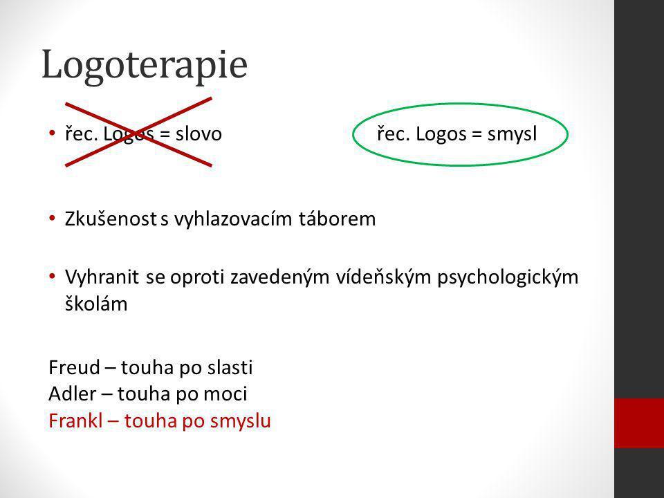Logoterapie řec. Logos = slovo řec. Logos = smysl