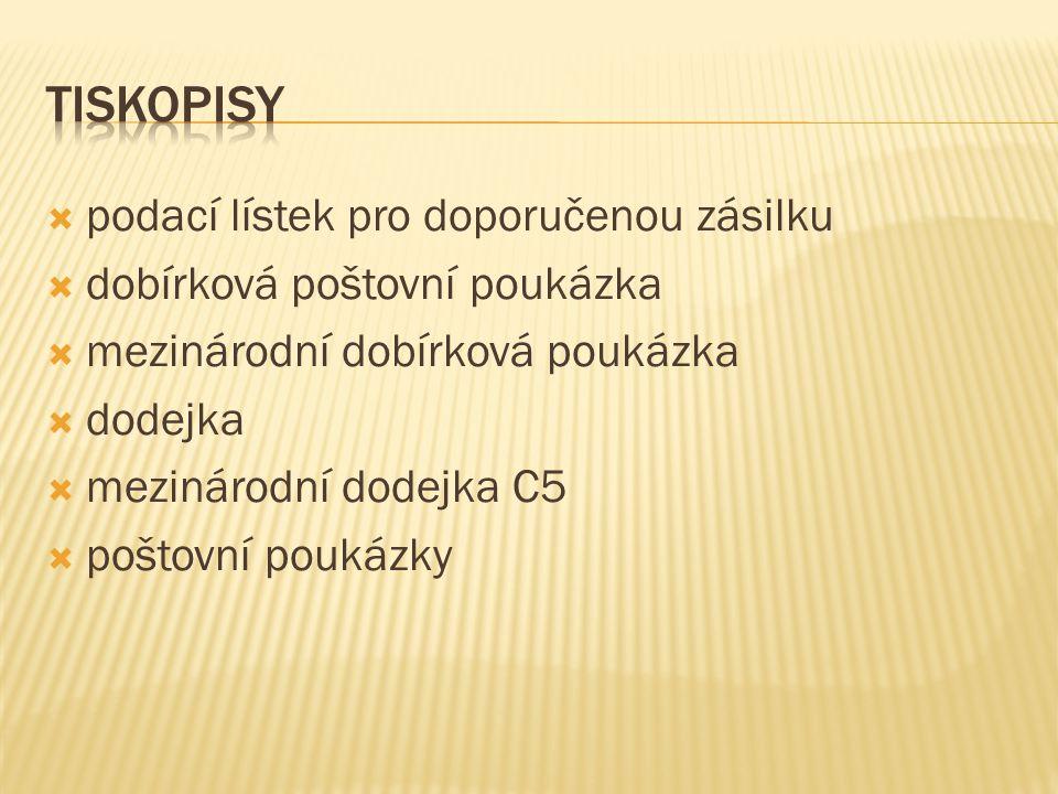 tiskopisy podací lístek pro doporučenou zásilku