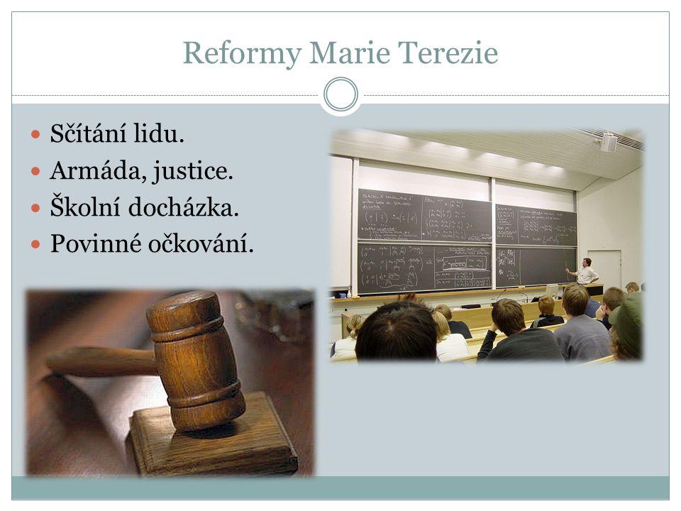 Reformy Marie Terezie Sčítání lidu. Armáda, justice. Školní docházka.
