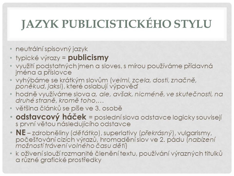 Jazyk publicistického stylu