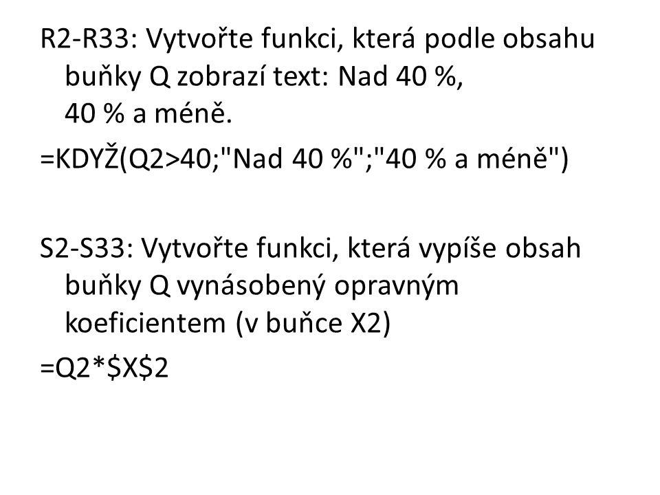 R2-R33: Vytvořte funkci, která podle obsahu buňky Q zobrazí text: Nad 40 %, 40 % a méně.