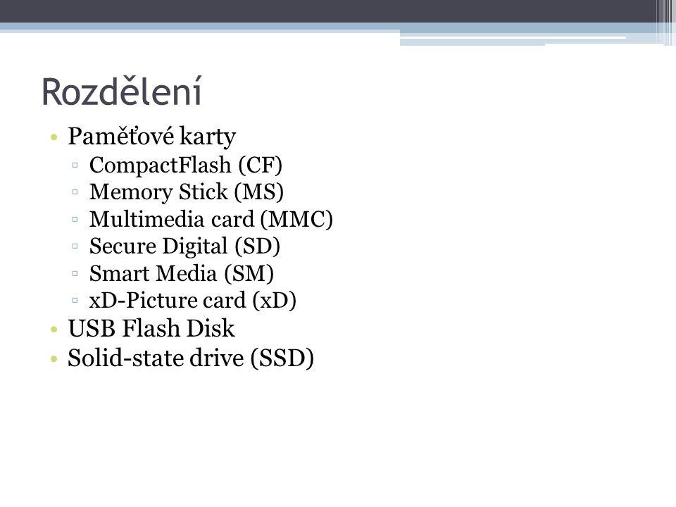 Rozdělení Paměťové karty USB Flash Disk Solid-state drive (SSD)