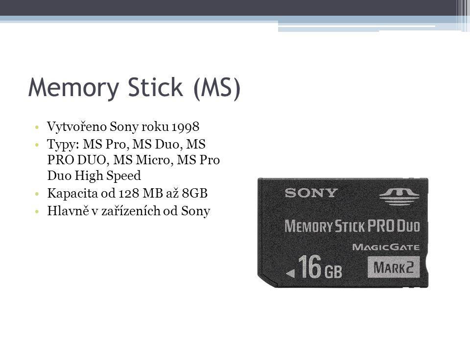 Memory Stick (MS) Vytvořeno Sony roku 1998