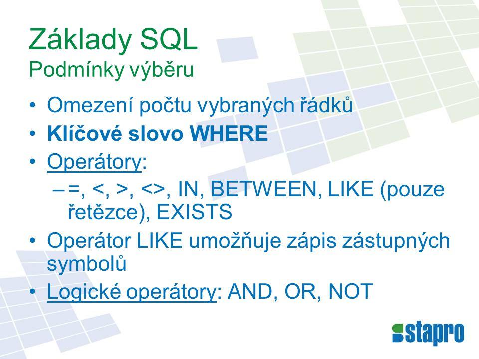 Základy SQL Podmínky výběru