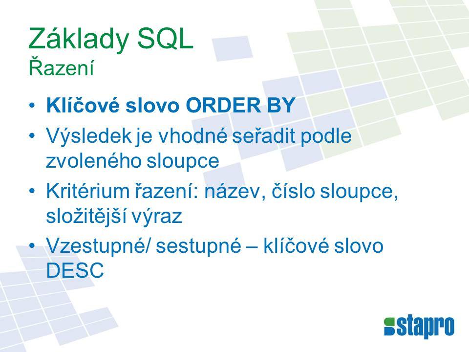 Základy SQL Řazení Klíčové slovo ORDER BY