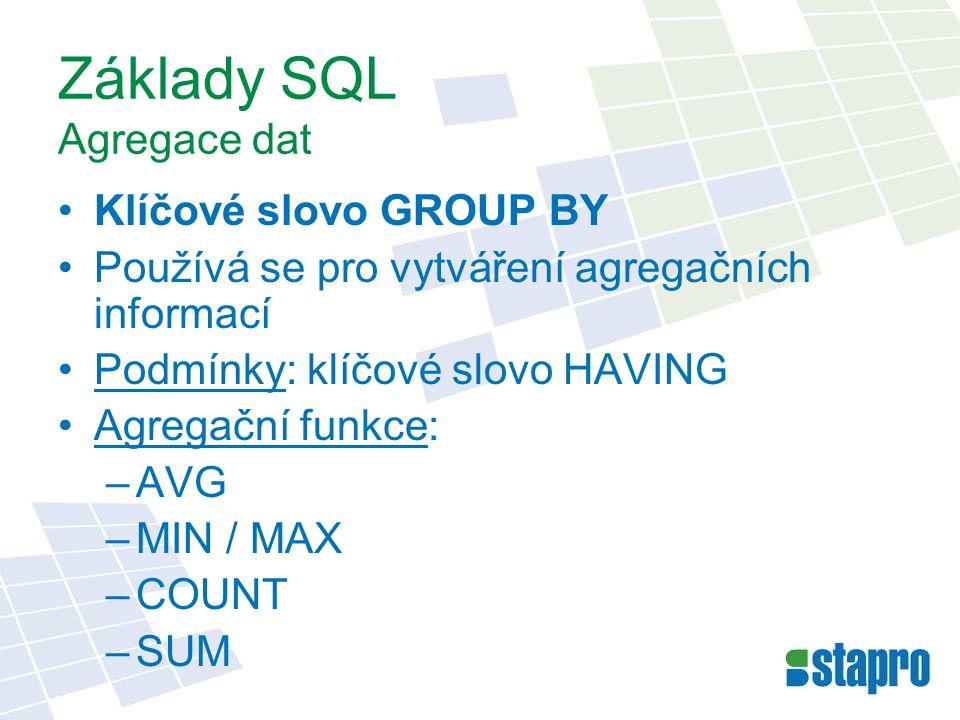 Základy SQL Agregace dat