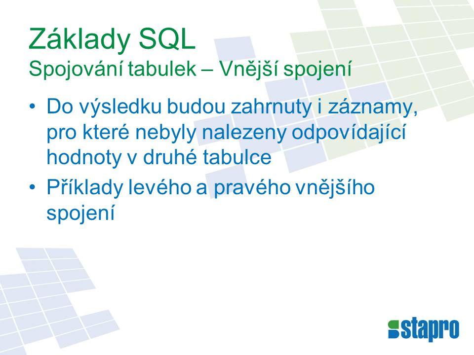 Základy SQL Spojování tabulek – Vnější spojení