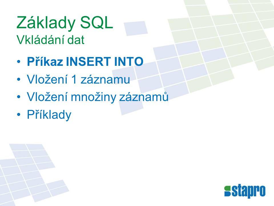 Základy SQL Vkládání dat
