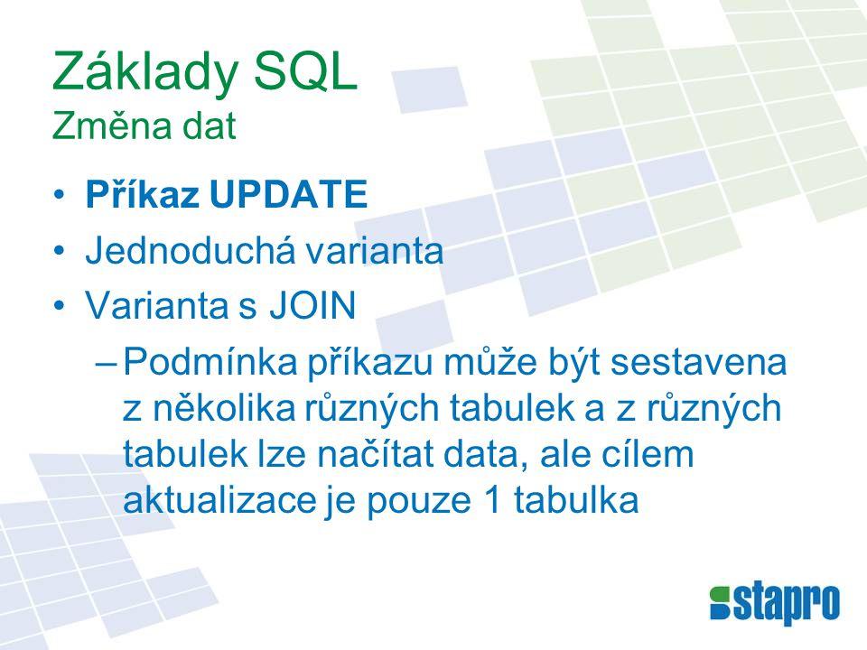 Základy SQL Změna dat Příkaz UPDATE Jednoduchá varianta