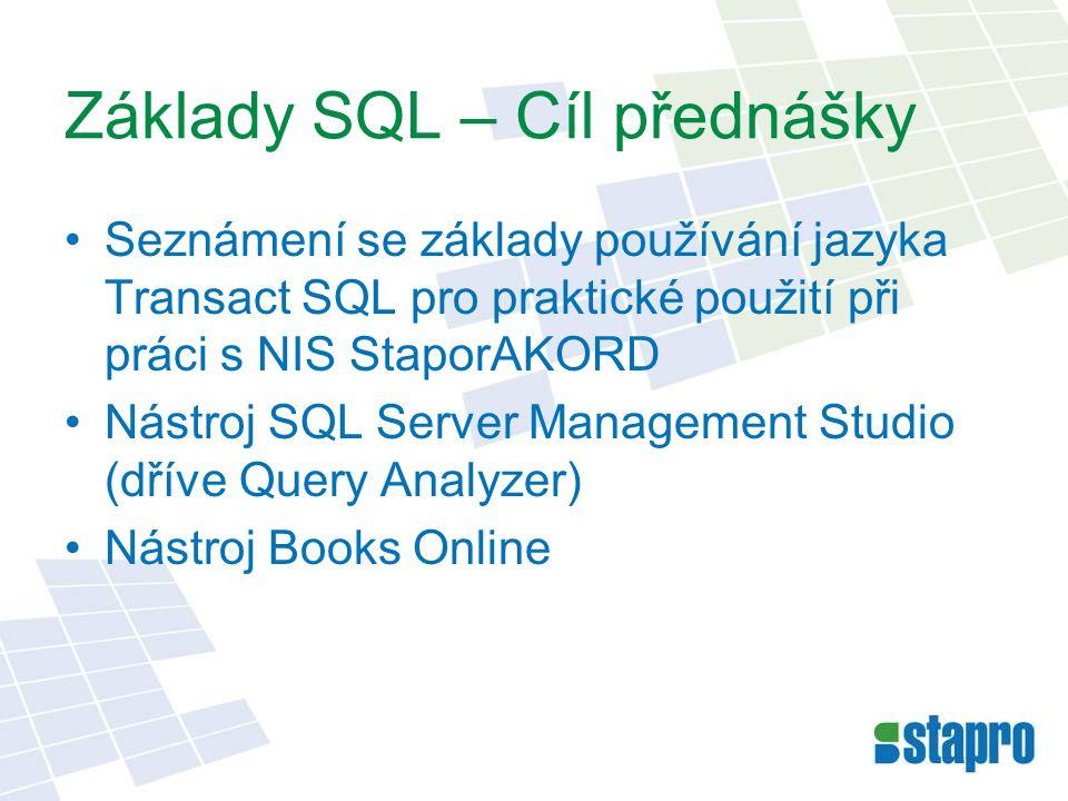 Základy SQL – Cíl přednášky