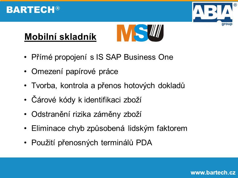 Mobilní skladník Přímé propojení s IS SAP Business One