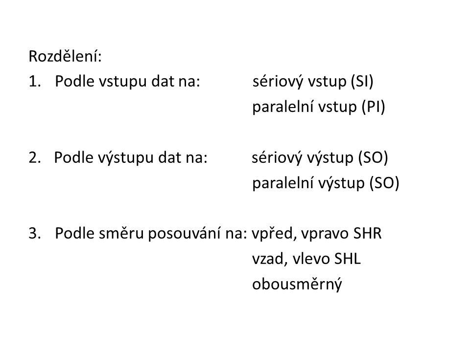 Rozdělení: Podle vstupu dat na: sériový vstup (SI) paralelní vstup (PI) 2. Podle výstupu dat na: sériový výstup (SO)