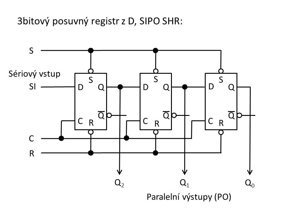 3bitový posuvný registr z D, SIPO SHR: