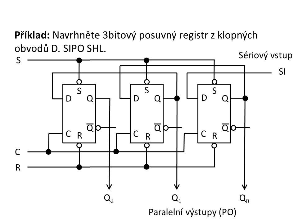Příklad: Navrhněte 3bitový posuvný registr z klopných obvodů D