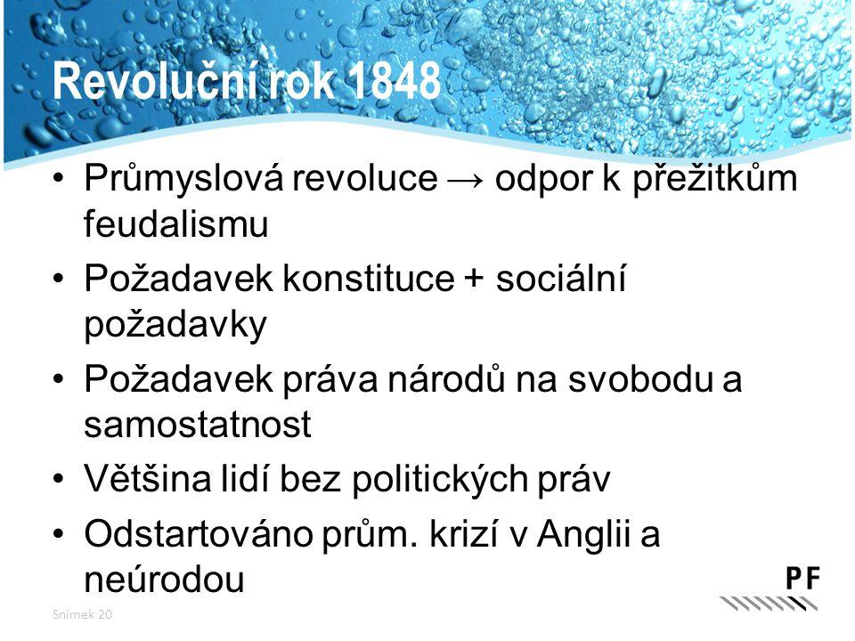Revoluční rok 1848 Průmyslová revoluce → odpor k přežitkům feudalismu