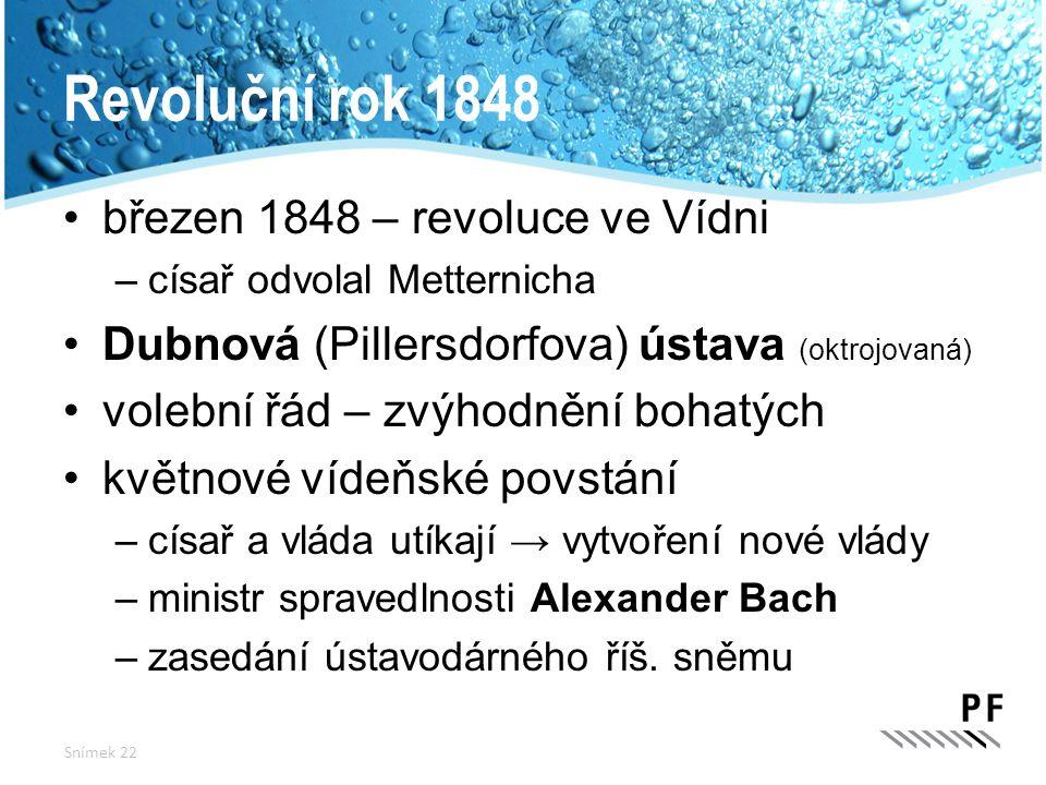 Revoluční rok 1848 březen 1848 – revoluce ve Vídni