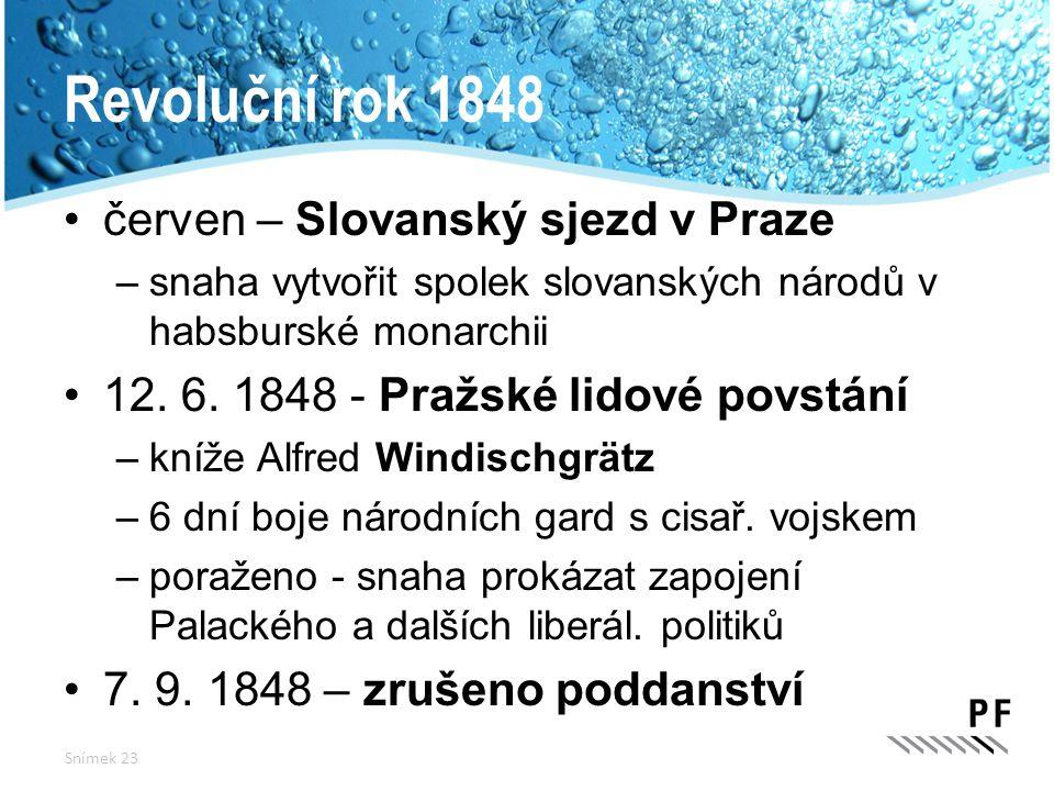Revoluční rok 1848 červen – Slovanský sjezd v Praze