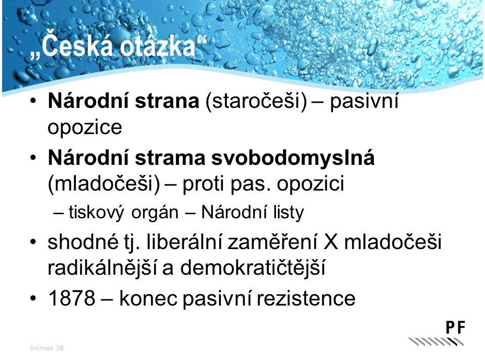 """""""Česká otázka Národní strana (staročeši) – pasivní opozice"""