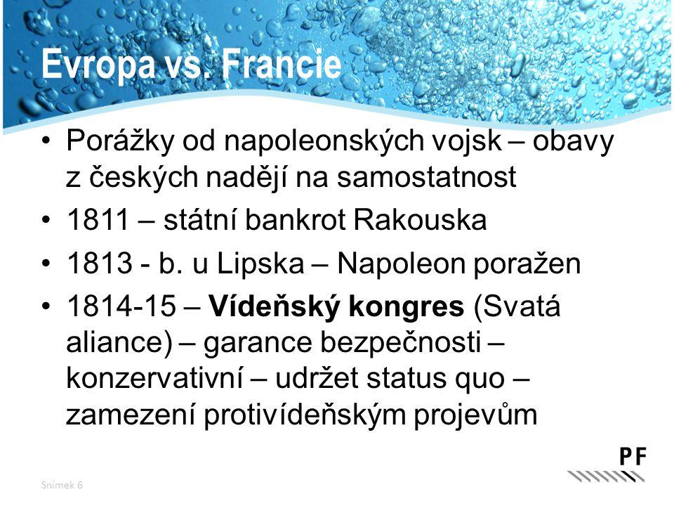 Evropa vs. Francie Porážky od napoleonských vojsk – obavy z českých nadějí na samostatnost. 1811 – státní bankrot Rakouska.