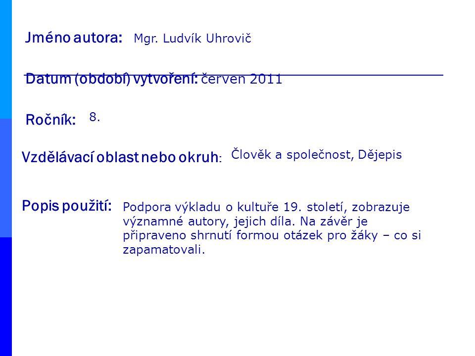 Datum (období) vytvoření: červen 2011