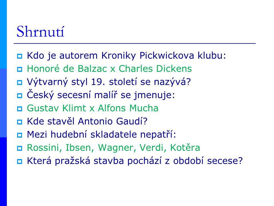 Shrnutí Kdo je autorem Kroniky Pickwickova klubu:
