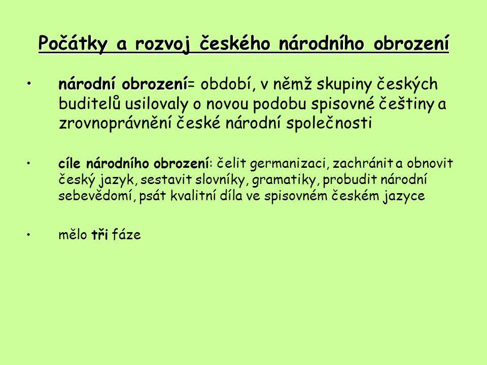 Počátky a rozvoj českého národního obrození