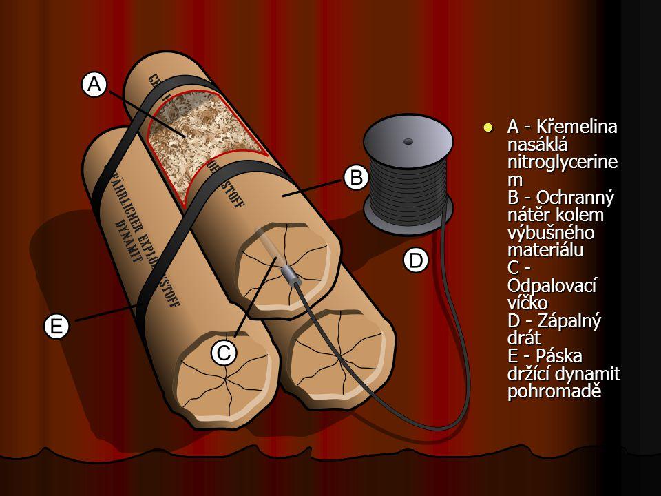 A - Křemelina nasáklá nitroglycerinem B - Ochranný nátěr kolem výbušného materiálu C - Odpalovací víčko D - Zápalný drát E - Páska držící dynamit pohromadě