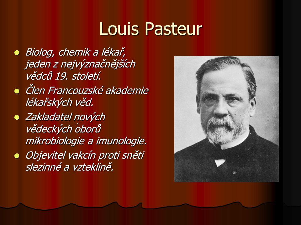 Louis Pasteur Biolog, chemik a lékař, jeden z nejvýznačnějších vědců 19. století. Člen Francouzské akademie lékařských věd.