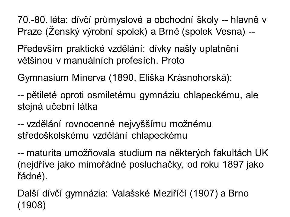 70.-80. léta: dívčí průmyslové a obchodní školy -- hlavně v Praze (Ženský výrobní spolek) a Brně (spolek Vesna) --