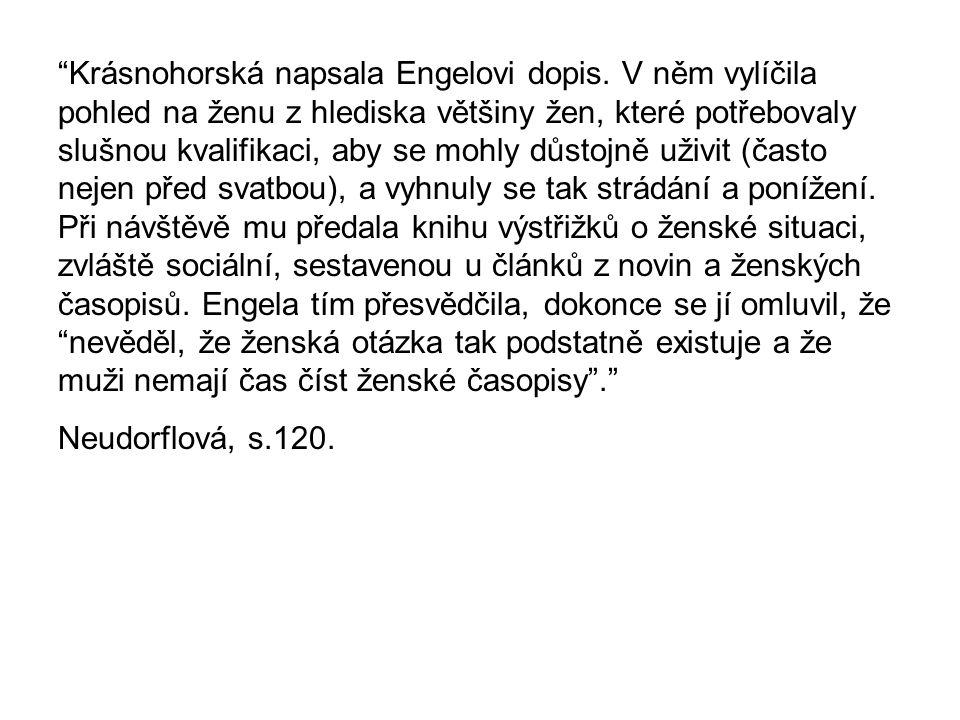 Krásnohorská napsala Engelovi dopis