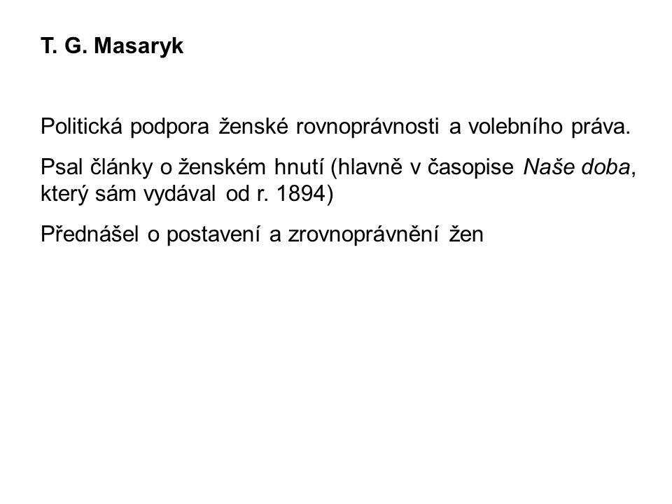 T. G. Masaryk Politická podpora ženské rovnoprávnosti a volebního práva.