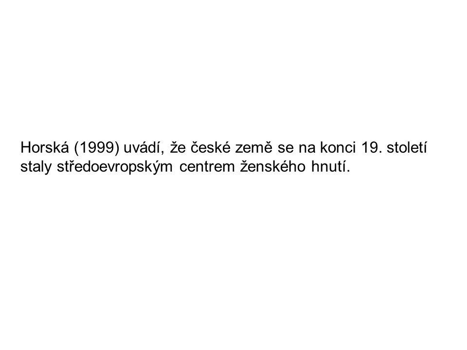Horská (1999) uvádí, že české země se na konci 19