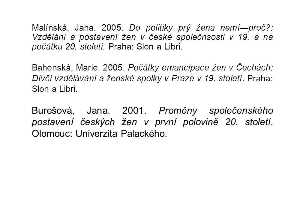 Malínská, Jana. 2005. Do politiky prý žena nemí—proč