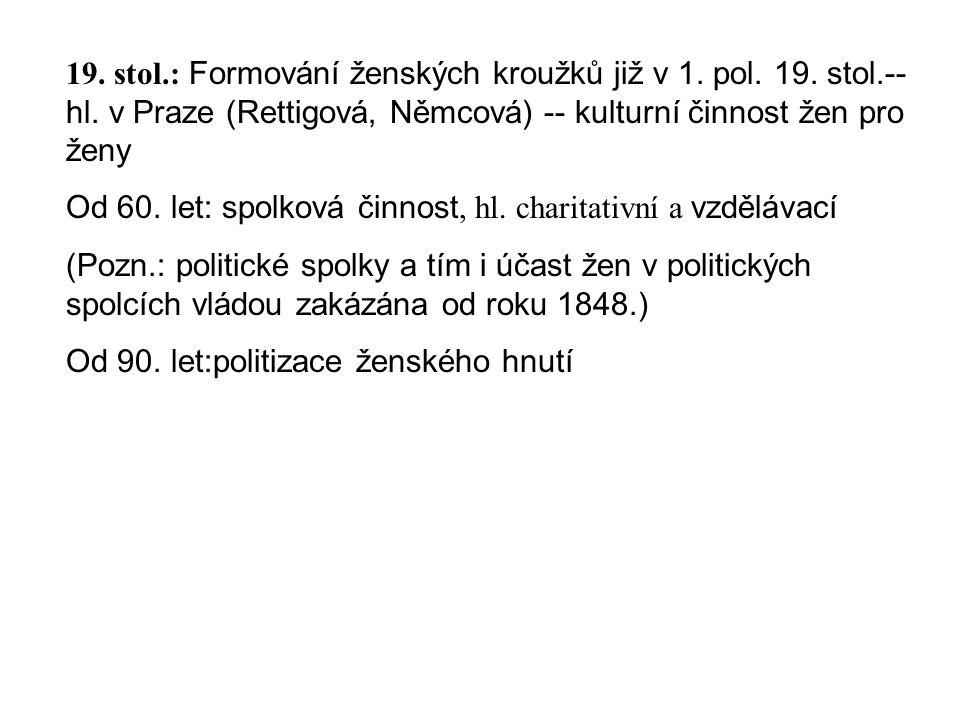 19. stol. : Formování ženských kroužků již v 1. pol. 19. stol. --hl