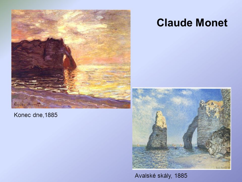 Claude Monet Konec dne,1885 Avalské skály, 1885