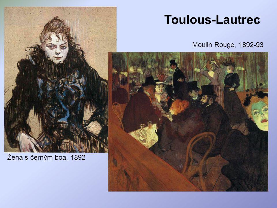Toulous-Lautrec Moulin Rouge, 1892-93 Žena s černým boa, 1892