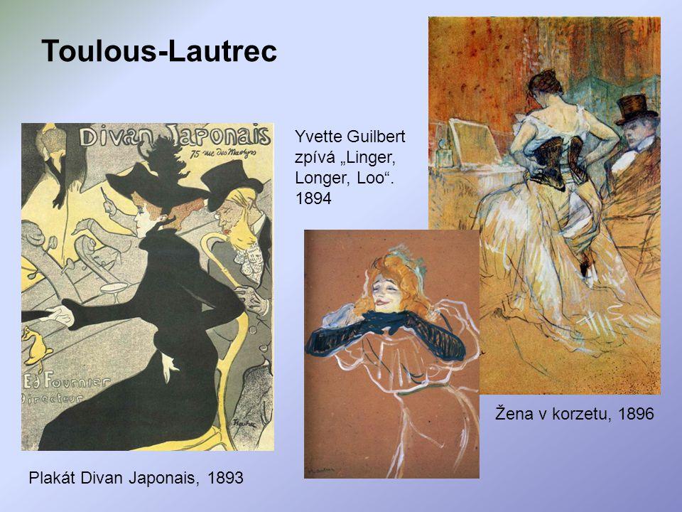 """Toulous-Lautrec Yvette Guilbert zpívá """"Linger, Longer, Loo . 1894"""