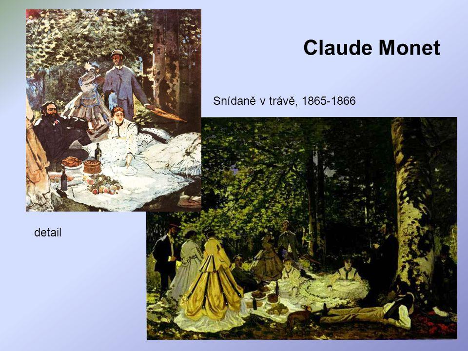 Claude Monet Snídaně v trávě, 1865-1866 detail