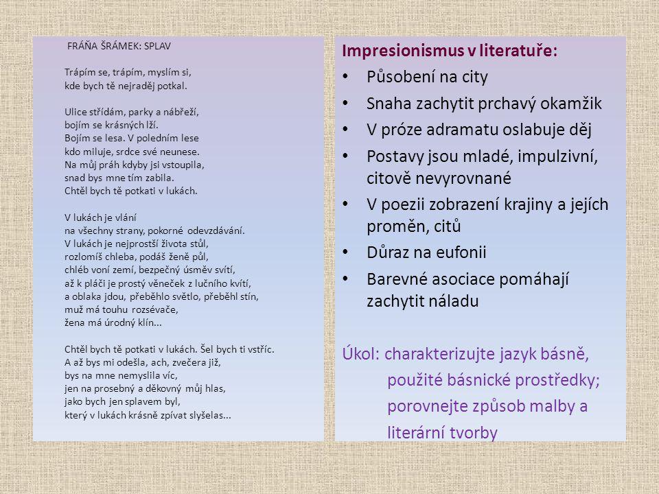 Impresionismus v literatuře: Působení na city