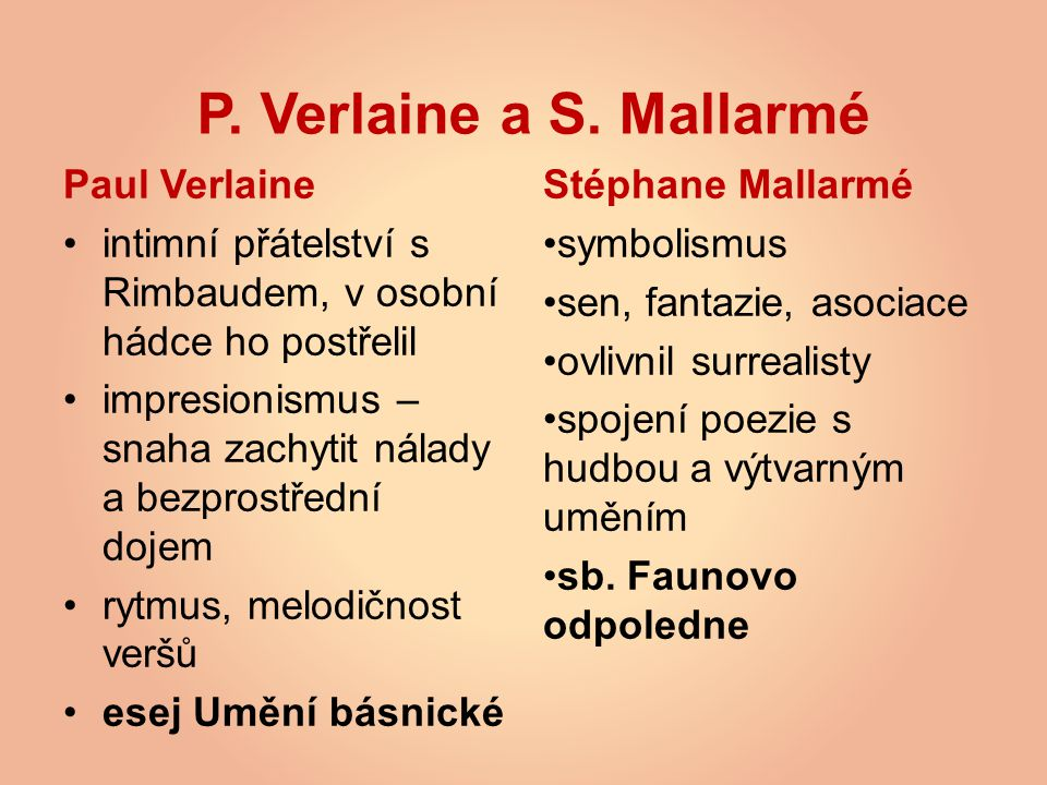 P. Verlaine a S. Mallarmé Paul Verlaine