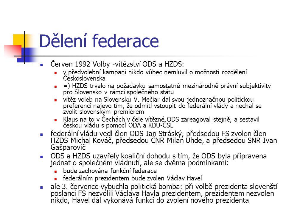 Dělení federace Červen 1992 Volby -vítězství ODS a HZDS: