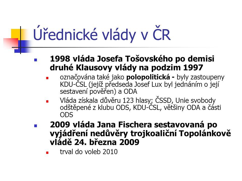Úřednické vlády v ČR 1998 vláda Josefa Tošovského po demisi druhé Klausovy vlády na podzim 1997.